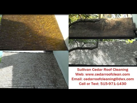 Cedar shake roof cleaning and moss removal