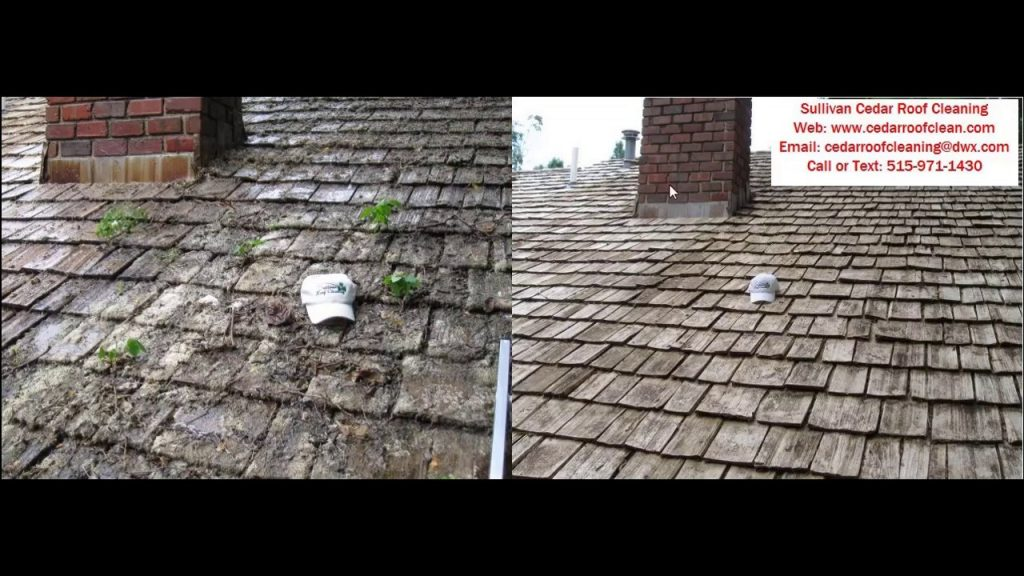 Cedar shake roof moss removal