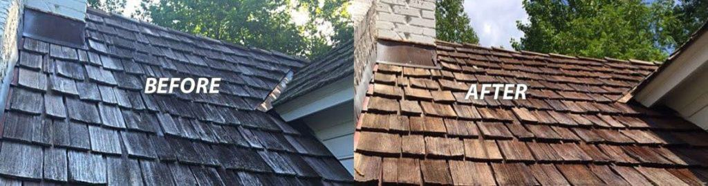 Before And After Cedar Shake Roof Cleaning